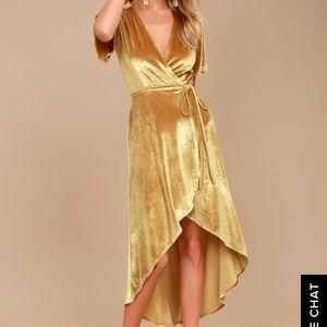 Lulus golden velvet high low wrap dress-brand new
